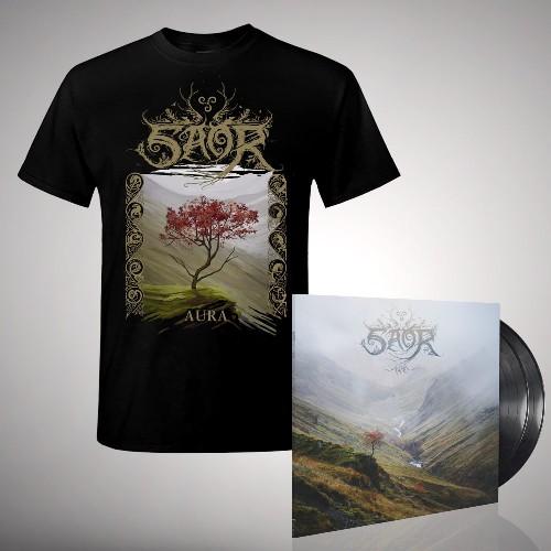 Saor - Aura - DOUBLE LP GATEFOLD + T Shirt Bundle (Men)